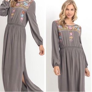 Jodifl Floral Embroiderd Long Sleeve Maxi Dress